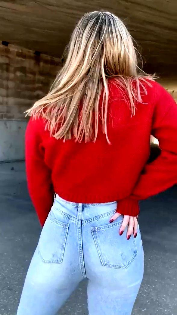 金髪お姉さんのジーンズお尻